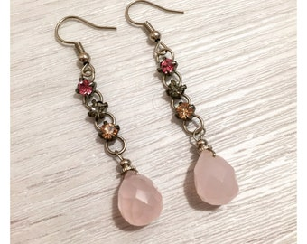 Rose / Pink Quartz Gemstone Drop Earrings