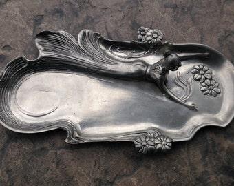 Vintage Art Nouveau Lady Maiden Pewter Tray