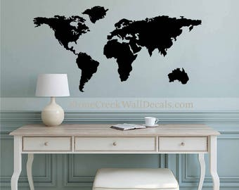 Merveilleux World Map Wall Decal Art Wall Decal Home Retail Or Office Extra Large World Map  Wall