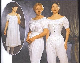 Misses' Costumes, Authentic Civil War Undergarments Sleeping Garb Corset Bloomers Top Simplicity 9769 Sizes 6-8-10-12 UNCUT