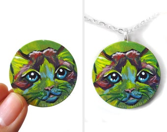 Ragdoll Cat, Animal Painting, Cat Necklace, Rainbow Jewelry, Memorial Gift, Pet Portrait, Painted Wood Art, Angel Pendant, Pet Loss
