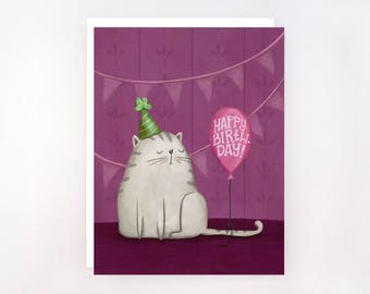 Catitude - Birthday Balloon - Greeting Card