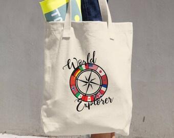 World Explorer Cotton Tote Bag | Epcot bag | Disney tote | World Showcase