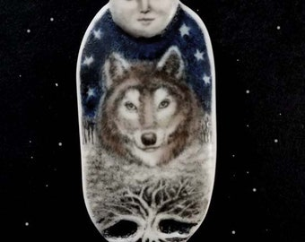 RESERVED  wolf spirit with full moon scrimshaw technique resin pendant