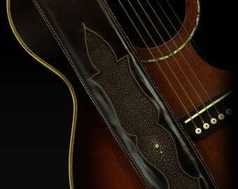 Exotic Leather Guitar Strap, Custom Leather Guitar Strap:  Atheer Guitar Strap