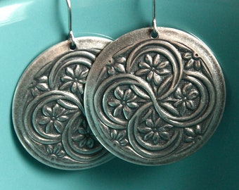 Silver Plated Floral Earrings - Surgical Steel Earwires