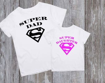 Daddy and Daughter Shirts Daddy daughter shirts Dad and baby matching shirts Daddy Daughter Matching Shirts Super dad Super daughter