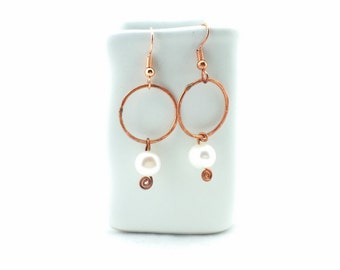 Hammered Copper Pearl Earrings Tsalagi Cherokee Made
