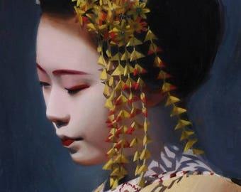 "Ichiaya - signed 8"" x 10"" print of an original painting- japanese geisha art asian maiko artwork"