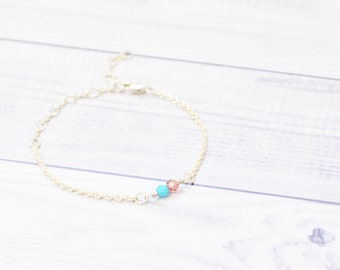 eco-friendly sterling silver bracelet with turquoise and rose crystal beads