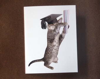 Printable Cat Graduation Card, Kitten with Diploma Printable Graduation Card, Digital Grad Card