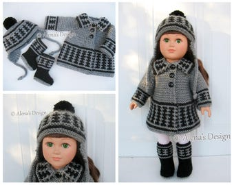 Knitting Patterns 3 PC Set for 18 inch Doll  Coat Jacket Boots Ear Flap Hat for American Doll Outfit My Life As Christmas Gift for Girl