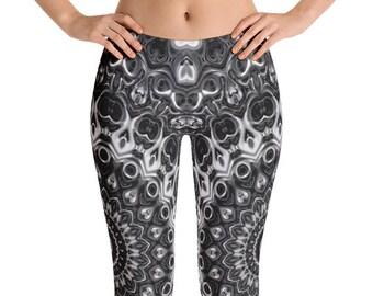 Cool Leggings, Black Mandala Yoga Leggings Gifts, Monochrome Leggings, Black and White Yoga Pants, Festival Leggings, Meditation Pants