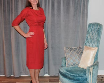 Vintage 1950s silk bow-front wiggle midi dress, size 2