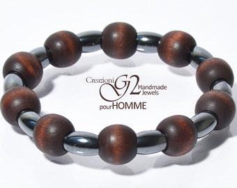 Wood Homme wooden hematite bracelet