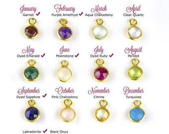 Add on Birthstone Bezel Round charm to any necklace or bracelet - gemstone charm - small birthstone pendant