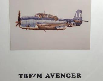 Cross Stitch Chart TBF/M Avenger Counted Cross Stitch Chart Aviation Plane Needlework Craft