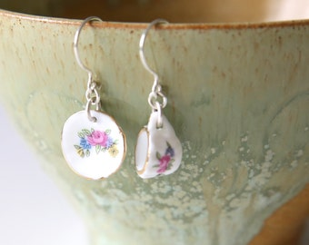 Flower Tea For One Earrings - Pink Blue Green Flower Tea Cup Dollhouse Miniature Earrings, Handmade Sterling Silver Porcelain Jewellery