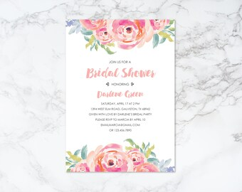 Printable Watercolor Floral Bridal Shower Invitation
