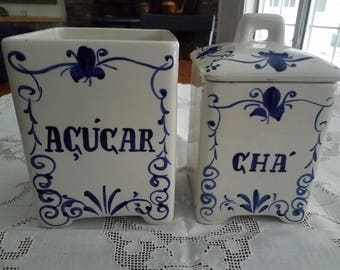 Blue French Farmhouse Canisters Jay Willfred Andrea by Sadek Made in Portugal