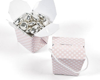Takeout Favor Boxes-Pink Gingham