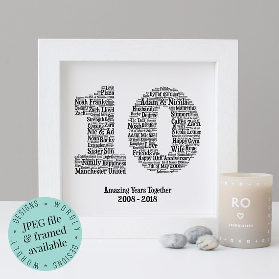 10th Wedding Anniversary Print