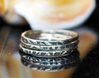 Silver Stacking Ring - Patterned Silver Ring - Textured Silver Ring - Dainty Ring - Petite Silver Ring - Durable Silver Ring
