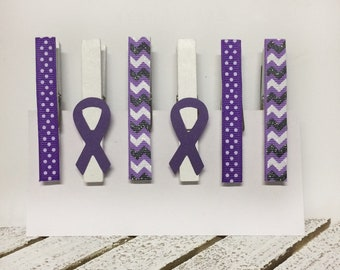 Set of 6 decorated clothespins, purple ribbon awareness, pancreatic cancer magnets, pancreatic cancer clothespin clips, purple ribbons