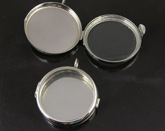 4 Our Glass Locket Shadow Box Silver Tone Round Pendants, G2341.90
