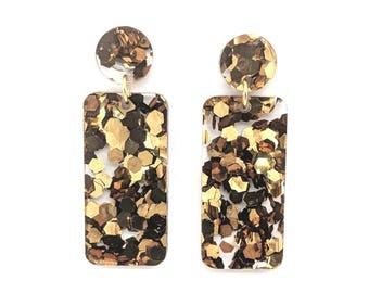 Chunky Bronze Glitter Rectangle Earrings