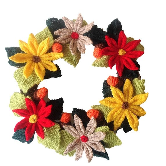 Knitted Christmas Wreath Xmas Knitting Pattern Christmas Flowers