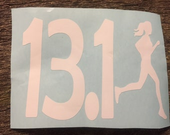 Runner girl half marathon car decal