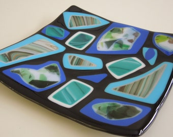 """8""""x8"""" plate - All black and blue"""