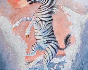Zebra Unicorn Fantasy PRINT  11X14inch