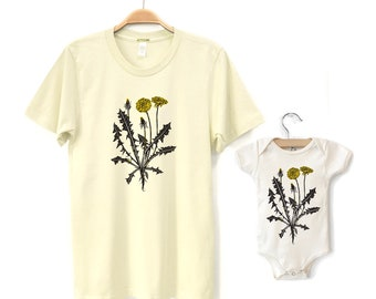 Daddy and Baby Matching Shirts, Dad Matching Tees, Dandelion Wildflower T-shirts, Father Daughter or Son, New Dad and Kids Fathers Day Gift
