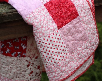 Baby Quilt in Pinks and Reds (#303)