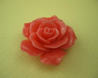 Vintage Lucite Coral Rose Pendant