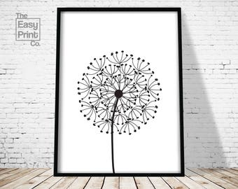 Dandelion Print, Flower Print, Wall Art, Printable Art, Home Decor, Modern Art, Minimalist Print, Dandelion Art, Digital Print, Flower Art