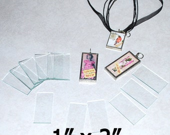 30 Pack 1 x 2 Inch Rectangles - Clear Pendant Glass for Collage Altered Art Soldered Jewelry.