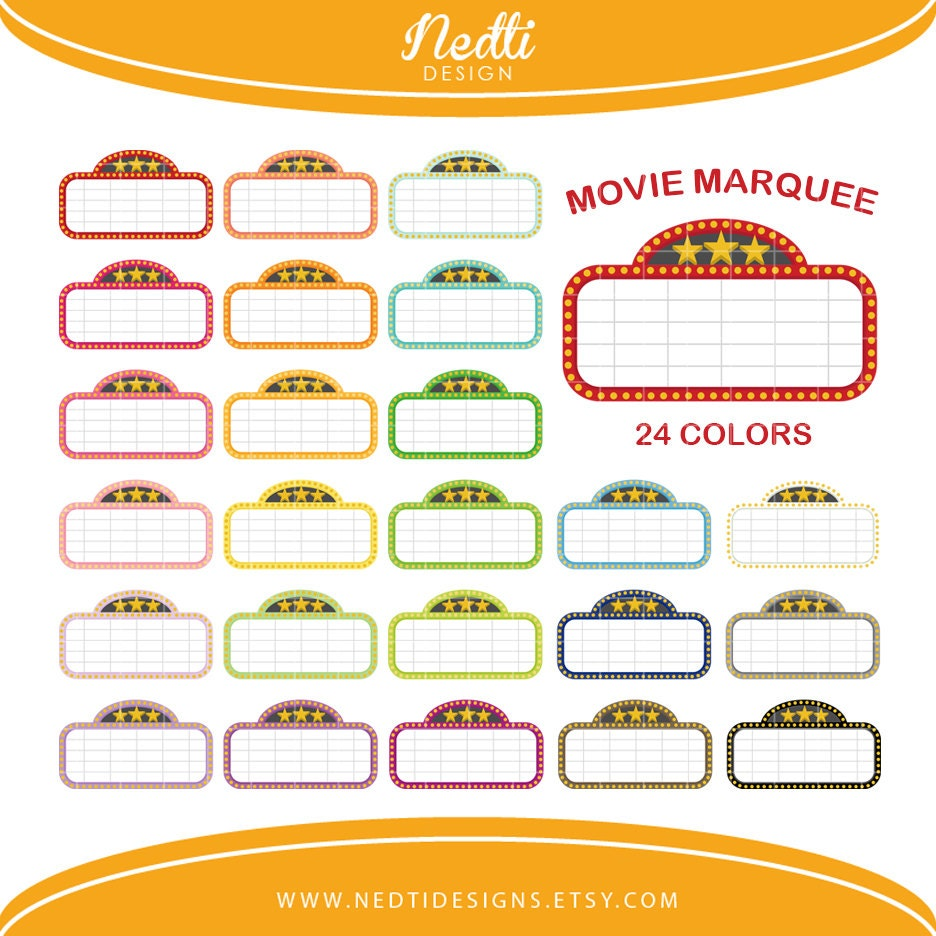 24 movie marquee clipart colorful rainbow color clip art rh etsy com Movie Border Clip Art movie marquee clipart black and white