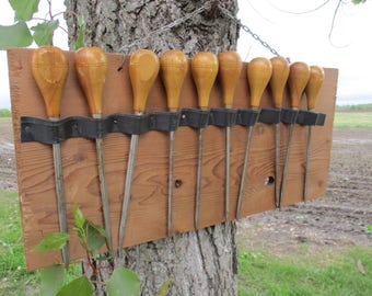 10 Awls Wooden Handle Leather Craft Tool Punch Ice Picks Wall Mount Vintage, Vintage Wood Awls, Leather Awls