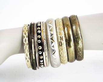 Set of 11 Gold Tone Vintage Bangle Bracelets