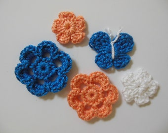 Crocheted Flowers and Butterfly - Blue, Tangerine and White - Cotton - Crocheted Appliques - Crocheted Embellisments
