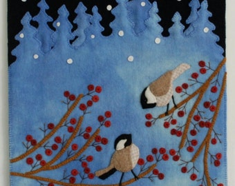 """Wool Applique Pattern Kit Christmas """"Just Starting to Snow Again"""" wall hanging winter snowflake chickadees bird hand dyed rug hooking wool"""