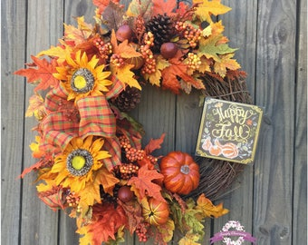 Fall Pumpkin Wreath, Fall Wreath, Autumn Wreath, Fall Front Door Wreath, Sunflower Wreath, Fall Decor, Autumn Decor, Fall Floral Wreaths