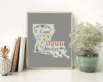 Louisiana printable,  Cajun wall decor, Down Yonder Southern quote