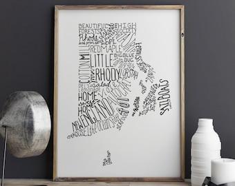 State of Rhode Island Typography Print; Christmas Gift; Wall Decor; Wall Art; Wedding Anniversary Engagement Graduation Gift Decor