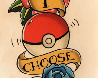 Pokemon Pokeball Flowers and  RibbonTattoo Flash Art- Hand Stained Print