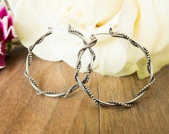 Small Silver Hoop Earrings, Latch Back Closure, Twisted Hoop Design