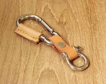 Handmade Military Clip Leather Keychain Keyring Keyfob Leather Key chain leather key fob (MC-56)